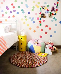 Girls bedroom by www.hidesleep.com.au Photography: Danielle Trovato. confetti wall stickers, iconic Little Lamb rug designed in Melbourne, Kartell yellow Componbilli. #bunnyonComponbilli