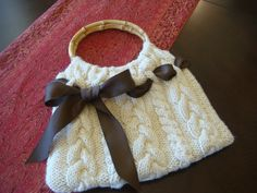 Cable Knit  Purse with Ribbon. $40.00, via Etsy.