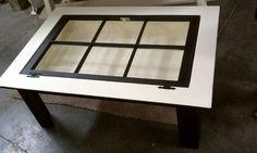 Repurposed window into shadow-box coffee table