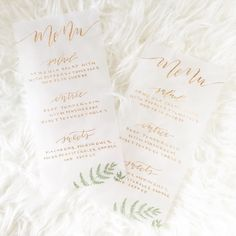 A peek at some vellum and gold menus for a styled shoot today! They turned out so pretty! #saffronavenue #saffronavenueletters (oh..you may spot an error luckily I fixed the next two I did)!