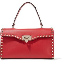 Valentino The Rockstud leather tote (€1.585) ❤ liked on Polyvore featuring bags, handbags, tote bags, red, leather totes, leather purse, genuine leather tote, red tote and leather handbags