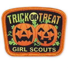 TRICK OR TREAT JACK-O-LANTERNS SEW-ON PATCH Girl Scout Leader, Girl Scouts, Girl Scout Patches, Sew On Patches, Trick Or Treat, Lanterns, Treats, Sewing, Fun