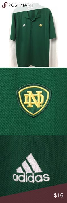 """Notre Dame Fighting Irish Climacool Polo Shirt M Officially Licensed Collegiate Product.  Adidas' Notre Dame Team Logo polo shirt features stretch poly knit fabric with Climacool mesh insets, designed to allow maximum moisture wicking even during the hottest days.  Features green & gold Notre Dame logo embroidered patch at left chest, white Adidas embroidered logo at right chest and Adidas' famous 3 stripe in white at each sleeve hem. No stains, tears or flaws.  From a smoke free home.  23""""…"""