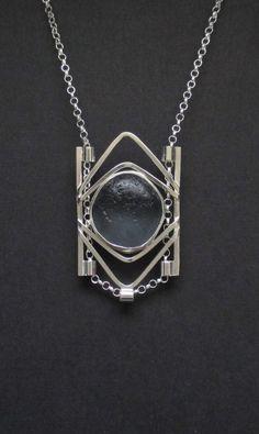 Sea Glass Jewelry Sterling Rare Dark Gray Sea by SignetureLine