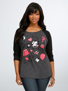 45ae52d6391 Felix The Cat Raglan Tee From the Plus Size Fashion Community at  www.VintageandCurvy.