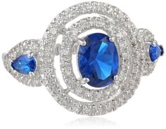 Halo Sterling Silver Oval and Pear Created Ceylon Sapphire Round Created White Sapphire Ring, Size 7