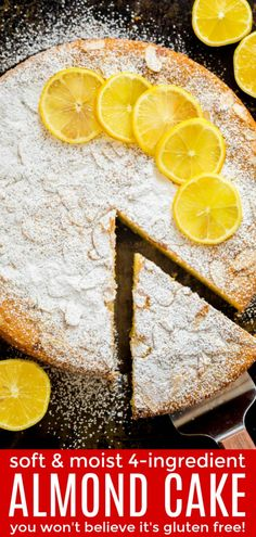 Almond Cake Recipe over the top view garnished with almond slices and lemons with slice cut out