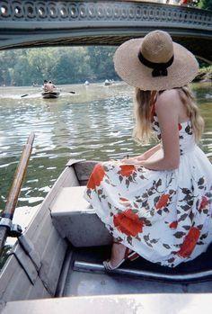 Central Park springtime rowboats & pretty floral dress