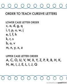 Letter Order Handout - The OT Toolbox cursive letter order handout for teacher, Occupational therapy, and parent education.cursive letter order handout for teacher, Occupational therapy, and parent education. Writing Alphabet Letters, Teaching Cursive Writing, Learning Cursive, Cursive Alphabet, Learning To Write, Writing Words, Kids Writing, Writing Skills, Hand Writing