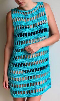 Beach dress coverup - Sunny Days, sizes S, MM & Ms summer crochet dress by AGartextil on Etsy Crochet Beach Dress, Crochet Tunic, Crochet Clothes, Crochet Top, Crochet Dresses, Black Crochet Dress, Beau Crochet, Mode Crochet, Dress Patterns