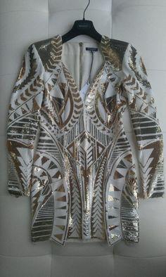 $25,000 BALMAIN MOST GORGEOUS GOLD SEQUIN RUNWAY DRESS FR36 #BALMAIN