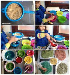 teñir arroz de colores