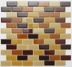 Bricked Off Dark Glass Mosaic Tile subway_brown_mix_DR by Nerino