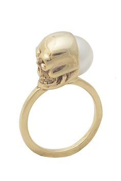 #houseofharlow1960 skull and pearl ring yes please!