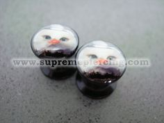 Size 6mm to 22mm Cat & Goldfish In a Bowl Screw Flesh Plugs