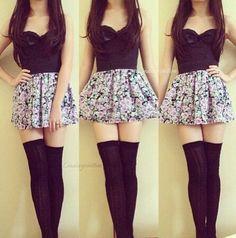 Black top and flower skirt with overknee-socks