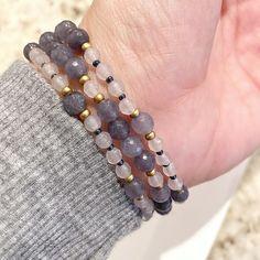 Gray Agate 3 Individual Beaded Bracelet Set Stretch | Etsy