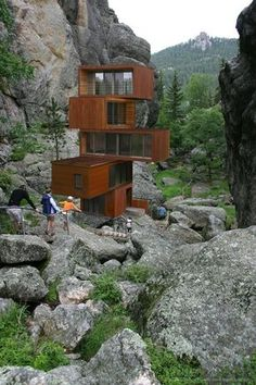 Home made from stacked shipping containers.