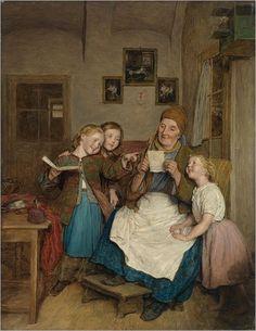 Grandmother with Three Grandchildren, 1854 -- by  Ferdinand Georg Waldmuller  (Áustrian, 1793-1865)