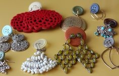 Buttons as earring holders.