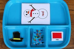Snowman Color Tray activities for prescoolers!  From an awesome Montessori site, love her stuff!