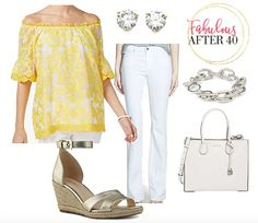 Yellow Off the Shoulder top with White Jeans White Skinnies, White Pants, White Denim, Linen Pants Outfit, Silk Pants, White Outfits, Cool Outfits, Casual Outfits, Dressing Your Body Type