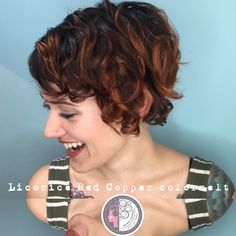 By Carleen Sanchez  Nevada's Curl Expert www.haircutcolor.com Licorice red copper colormelt on short naturally curly hair.