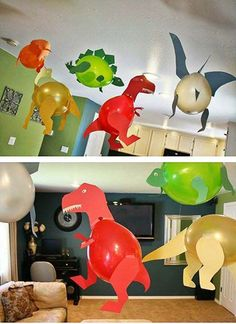 Birthday Party Make for your son a balloons dinosaur party # Artistic Corner # Teachers_Riyadh_Child Dinasour Birthday, Dinosaur Birthday Cakes, 3rd Birthday Cakes, 6th Birthday Parties, Dinosaur Party, Boy Birthday, Kids Crafts, Die Dinos Baby, Baby Dino