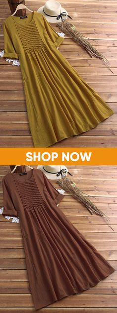 Pleated Solid Color Long Sleeve O-neck Vintage Dresses. US size 8 to 20. #dresses #yellow #long