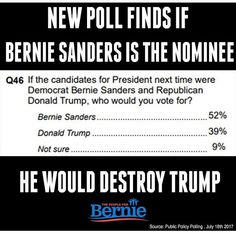 Just like the polls showed in all of 2016- if Bernie Sanders is the nominee in 2020 he will destroy Trump. Any politician who wants to get elected needs to become a Berniecrat- it's what the American people want: authenticity, equality, representation.