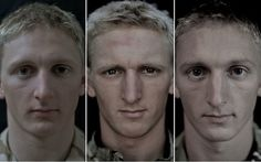 """For her """"We Are The Not Dead"""" series, Snow decided to make a series of photos portraying fourteen British soldiers' faces over a period of seven months, before, during and after their operational deployment to Afghanistan."""
