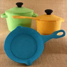 Colorful Felt Pan Set, Felt Frying Pan, Felt Dutch Oven, Felt Food Set, Play Kitchen Accessories, Felt Cookware, Play Kitchen Set