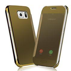 Samsung Galaxy S6 Funda - NextMall Flip Case [Vista Clara Cover ]PU Cuero Ultra delgado Espejo Protective Dura Carcasa para Galaxy S6 - dorada - http://www.tiendasmoviles.net/2016/02/samsung-galaxy-s6-funda-nextmall-flip-case-vista-clara-cover-pu-cuero-ultra-delgado-espejo-protective-dura-carcasa-para-galaxy-s6-dorada/