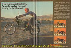 1977 Kawasaki Enduros – KE250, KE100, KE125, KE175 – now the end of the road is only the beginning » www.DadsCycleMags.com