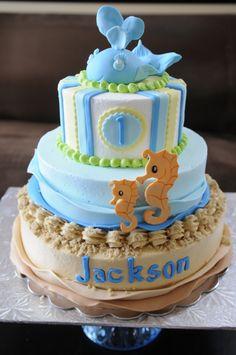 #nutfree 1st birthday cake - #baby whale - www.ccnutfree.com