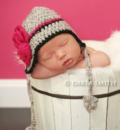 Newborn Earflap Hat -- Baby Girl Gray Tweed Hat With Hot Pink Triple Layered Flower. $20.00, via Etsy.