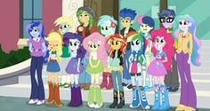 Size: 952x506 | Tagged: applejack, background human, bon bon, canterlot high, derpy hooves, equestria girls, flash sentry, fluttershy, friendship games, lyra heartstrings, microchips, pinkie pie, princess celestia, princess luna, principal celestia, rainbow dash, rarity, safe, sandalwood, screencap, spoiler:friendship games, sunset shimmer, sweetie drops, vice principal luna