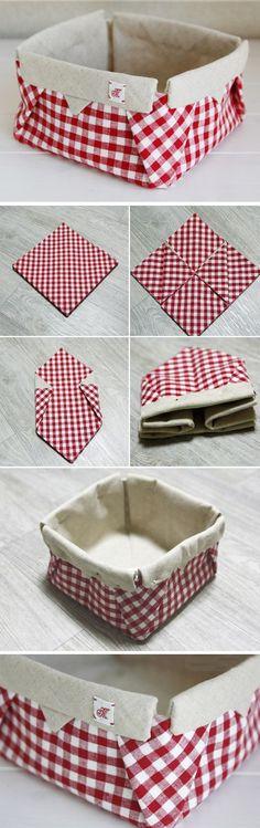 Tecido Origami Box. DIY cesta tecido tutorial.