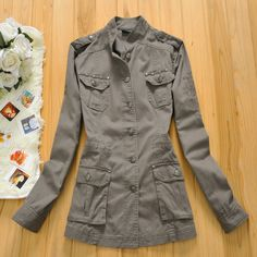 15$ Free shipping 2015 spring fashion rivet multi-pocket overalls small stand collar pure cotton-padded coat trench