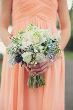 Idea File: 22 ideas using three popular colors for weddings. Hemlock, peach and aqua wedding ideas.