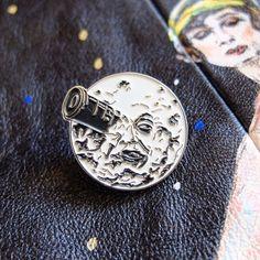 Le Voyage Dans La Lune pin badge. A Trip to the Moon cult film hat lapel pins. Georges Melies. Sci fi. Science fiction. Silent film. Patch.