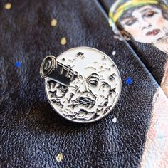 Le Voyage Dans La Lune pin badge. A Trip to the Moon cult film hat lapel pins. Georges Melies. Sci fi. Science fiction. Silent film. Patch.