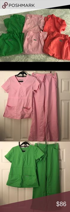 Grey's Anatomy Bundle of Scrubs Size-S(4-6) Grey's Anatomy Bundle of 3 sets of used Scrubs all in the Size-S (size- 4-6), Colors- light pink, lime green and coral , so soft feel like your earring you pj's to work , all have been used several times and are wrinkled from being in my closet, Scrub pants have light dust on the rim of pants, will wash before selling, what's in the pic is exactly what you will receive, don't fit anymore and got laid off from work so don't need them, from smoke…