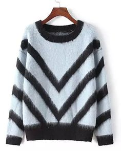 furry chevron sweater| $19.95  kawaii grunge vintage retro fachin sweater furry striped under20 under30 sammydress