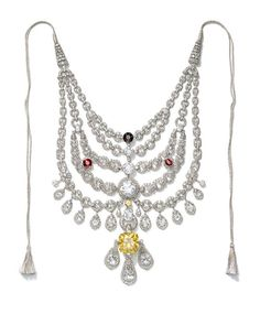 Cartier ceremonial necklace in platinum, gold and nearly 3,000 rose and ancient-cut diamonds, created in 1925 for the Maharaja Bhupinder Singh of Patiala and made from gems from the crown jewels.