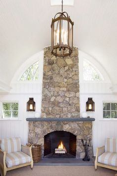 Shorely Chic: James Radin's Fall Friendly Coastal Home...love this fireplace