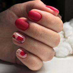 Accurate nails, flower nail art, Matte nails, Nails ideas 2018, Nails trends 2018, Red nail art, Short nails 2017, Spring nails 2018