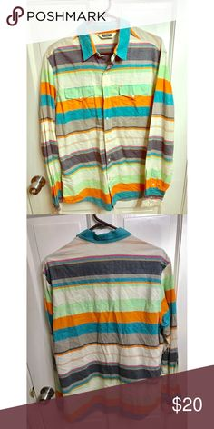 """Salt Valley Western Striped Shirt Sz M Salt Valley Western Multi Color Striped Mens Long Sleeve Pearl Snaps Medium ... Just Needs a Bit of Ironing to get some Lil wrinkles out  This shirt is in very nice pre owned condition with no stains, tears or holes. It is 100 percent cotton with pearl snap buttons. It is marked size medium but please check the actual measurements below to be sure of fit.   —29"""" Long  —20"""" armpit to armpit  —26"""" sleeve  —19"""" back shoulder Salt Valley Western Shirts…"""