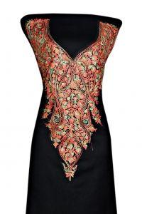 Black coloredfine spun woolenaari work suit piece Multi coloured neck embroidery front and back design Kashmiri aari work/design