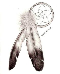 """Dreamcatcher and Eagle Feathers"" tattoo design by Denise A. Wells by ♥Denise A. Wells♥, via Flickr"